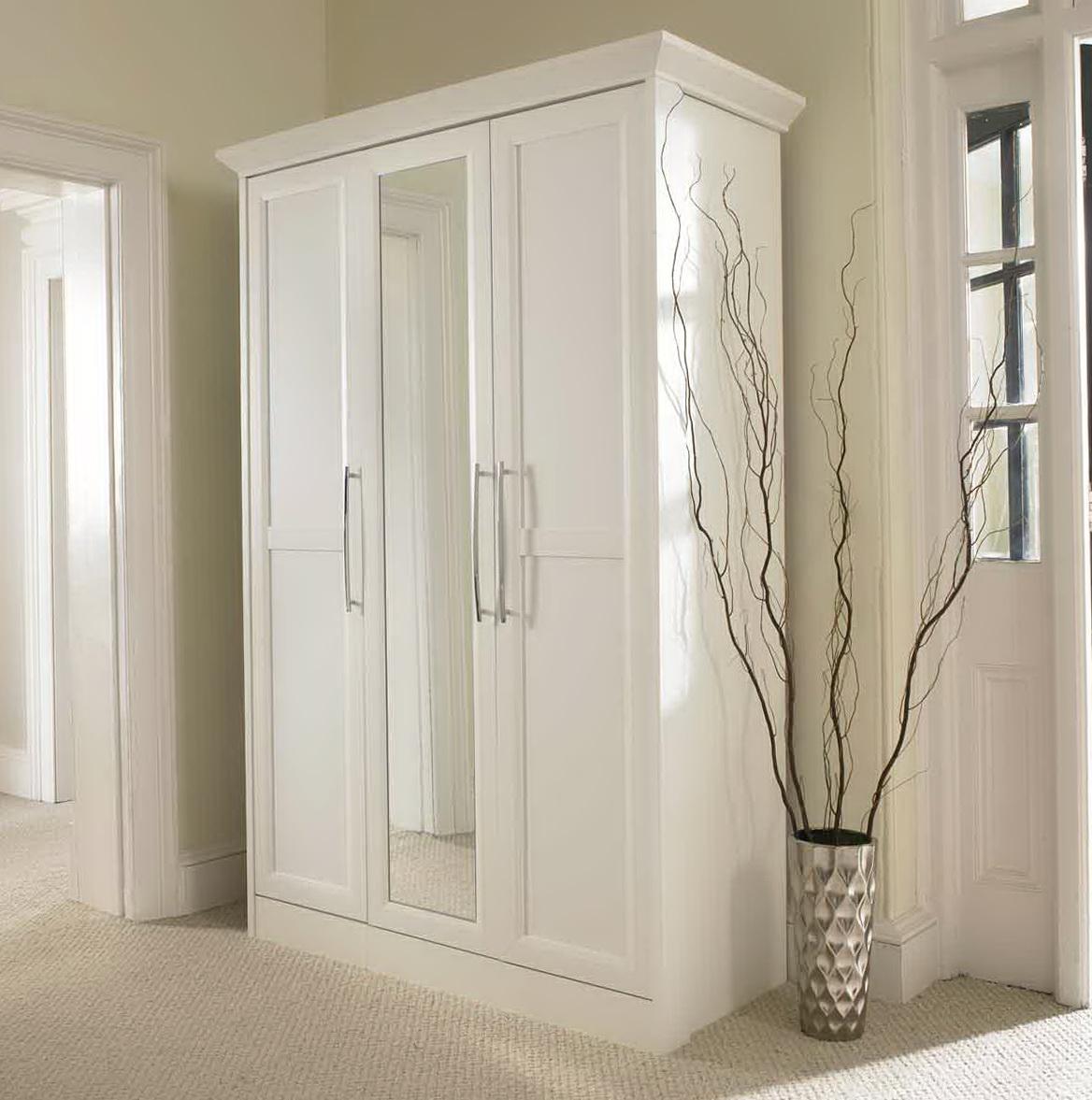 White Wardrobe Closet With Mirror