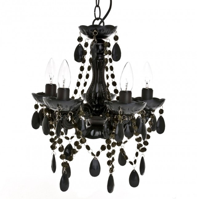 Black Chandelier In Bathroom