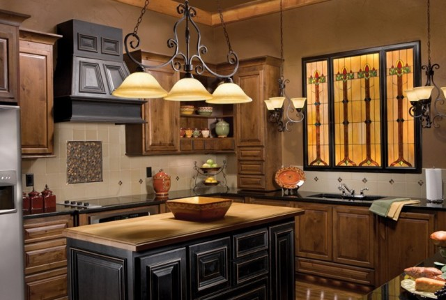 Chandeliers Above Kitchen Island