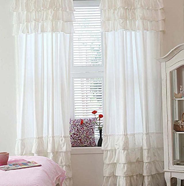 White Ruffle Curtains 96