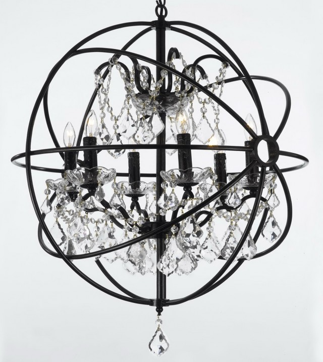 Wrought Iron And Crystal 5 Light Chandelier