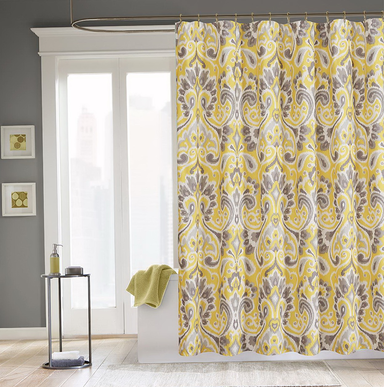Yellow And Gray Shower Curtains