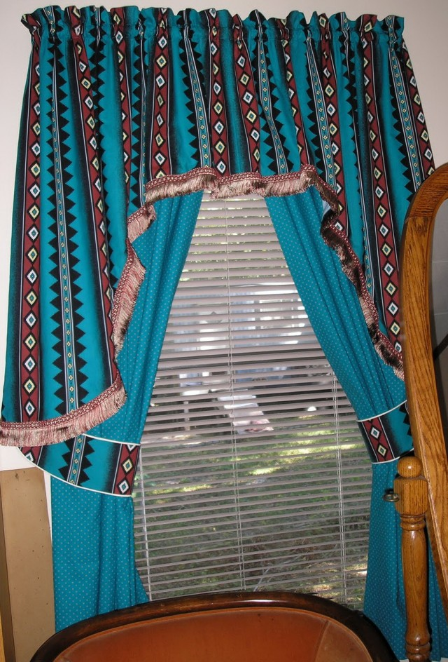 Brown And Blue Curtains For Windows