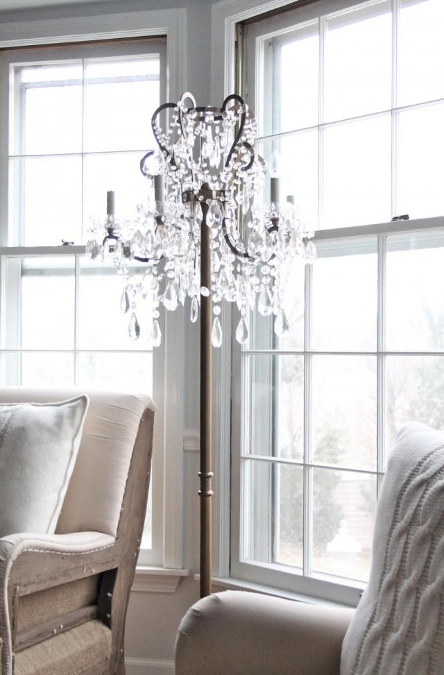 Chandelier Floor Lamp Draped Jewels