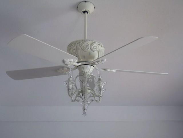 White Crystal Chandelier Ceiling Fan