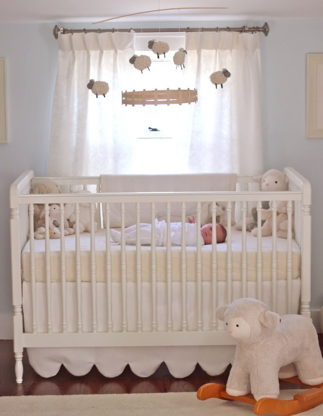 White Curtains Baby Room
