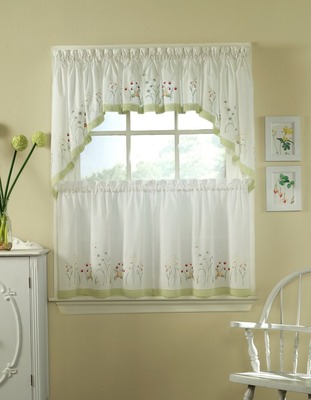 Green And White Kitchen Curtains