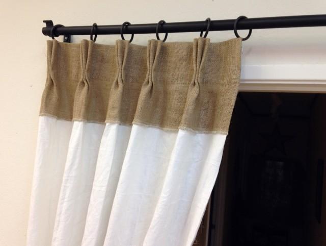 Pinch Pleated Burlap Curtains