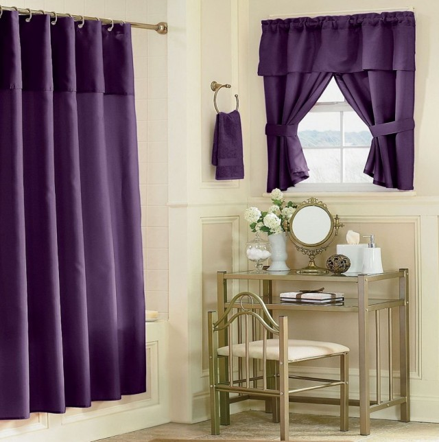 Purple Bathroom Window Curtains