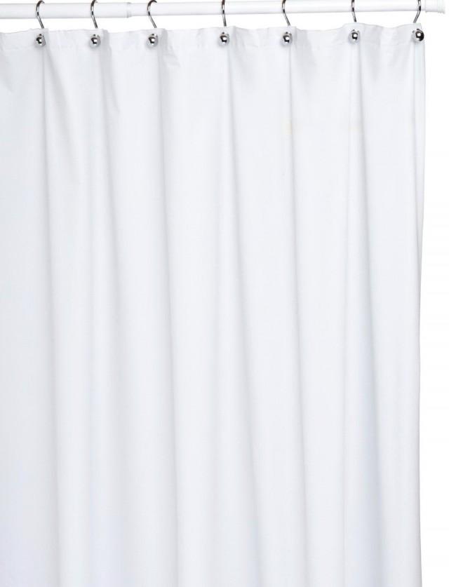 White Fabric Shower Curtain