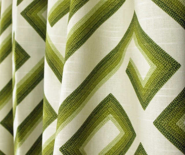 Olive Green Patterned Curtains