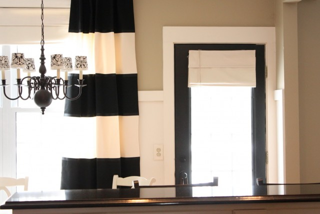 Black And Beige Striped Curtains
