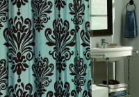 teal blue and brown curtains