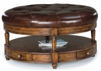 Tufted Leather Ottoman With Optional Shelf