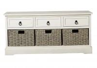White Storage Bench With Baskets