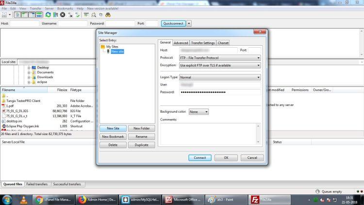 Connecting to server through FileZilla