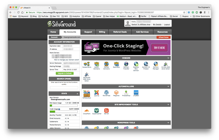 Siteground cPanel Home
