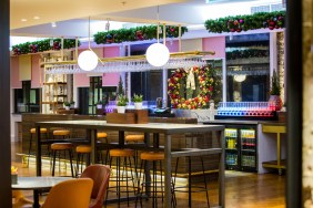 Bar decorated with Christmas Garlands by Curious Events