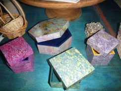 Little boxes covered in hand marbled paper