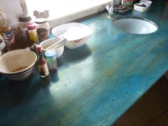 Stained Ply wood kitchen work surfaces