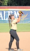 Melanie Roberson makes the catch for the second out in the third inning of Friday's game at Salem.