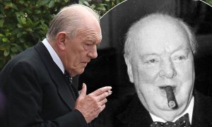 Sir Michael Gambon,74,smokes a cigarette whilst on set of ìSecret Churchillî in London. The ITV drama follows the story of a nurse guiding the ailing Churchill back to health during his final years in power at his Kent home. Set in the summer of 1953, it is based on book, The Churchill Secret: KBO, by Jonathan Smith, which tells the story of the PM's secret stroke. Credit Byline:Eagle Eyes_Exclusive. 28/6/2015