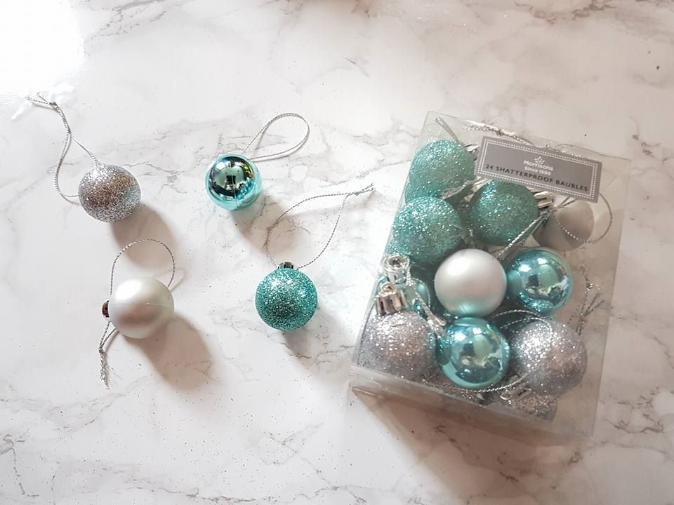 sparkly silver and blue baubles