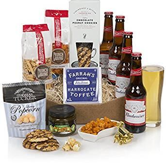 beer hamper with snacks