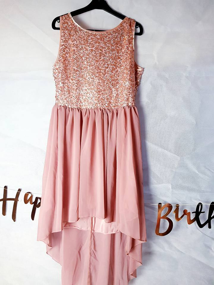 pink sparkly boohoo dress