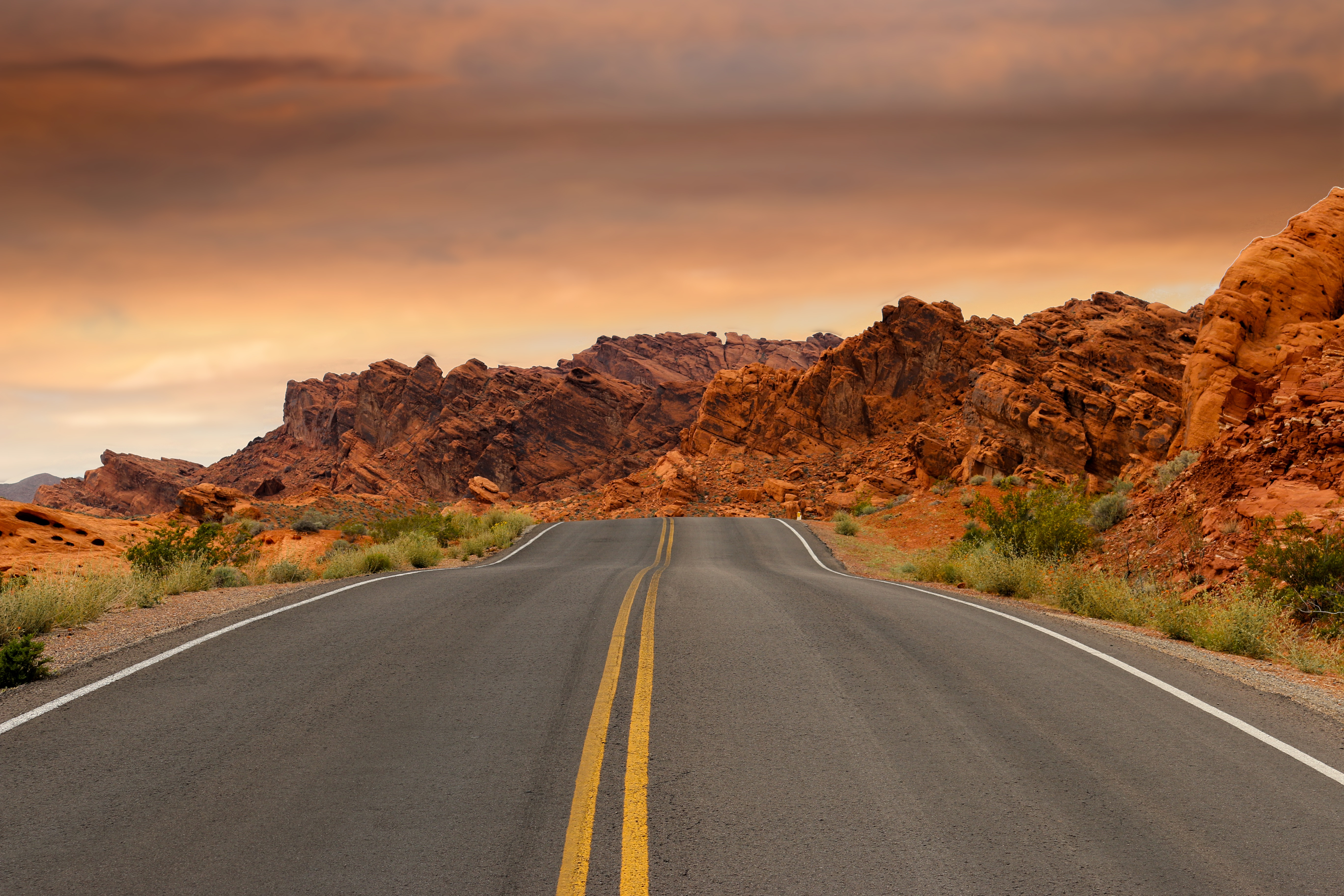 road leading to the sunset