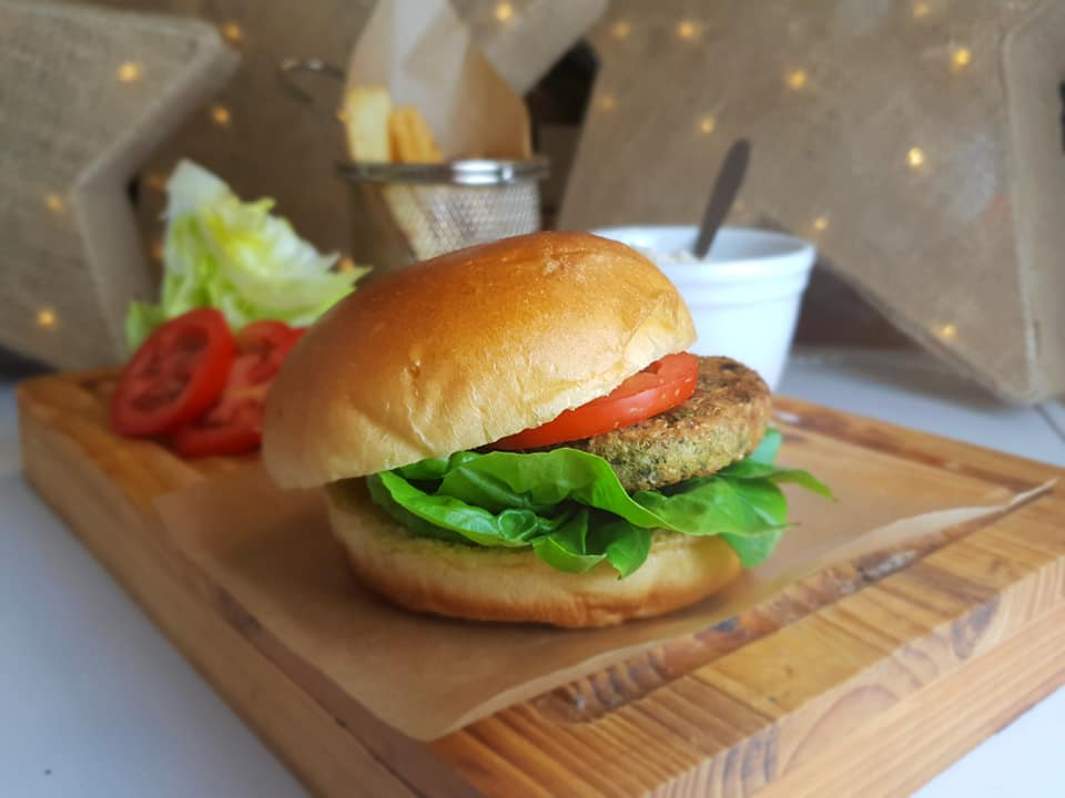 Veggie burger meal