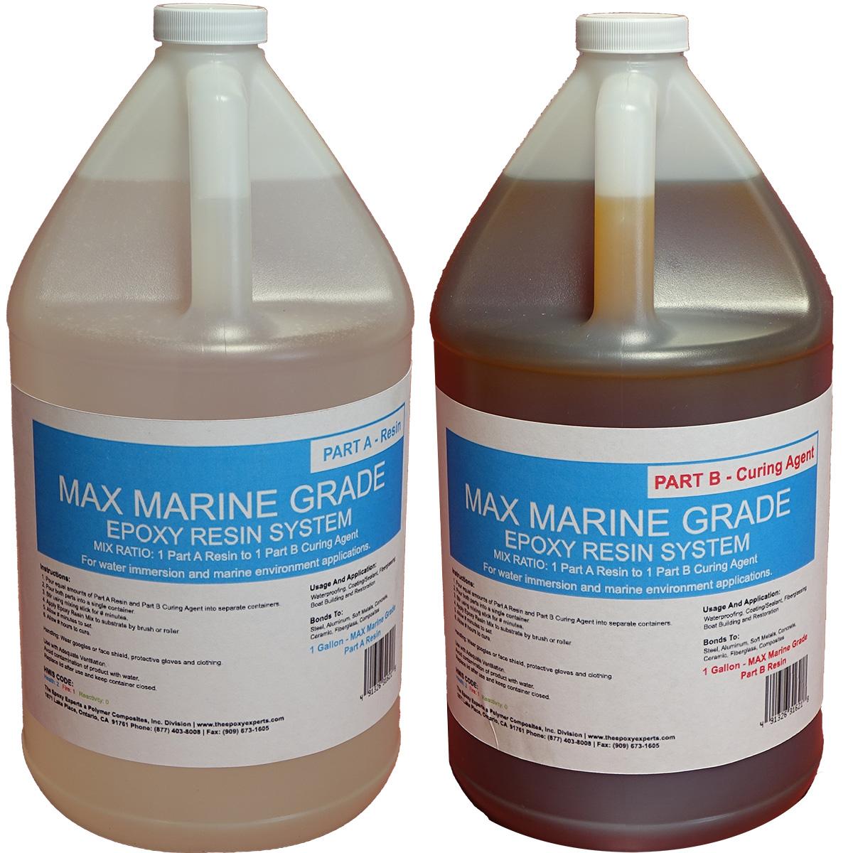 Max Marine Grade Epoxy Resin System 2 Gallon Kit Wood Sealing High Strength Fiberglassing Marine Applications Composite Fabricating Resin The