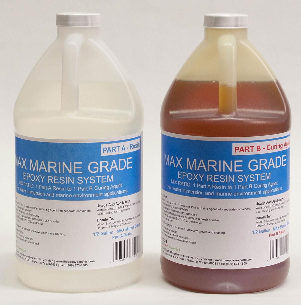 MAX MARINE GRADE Epoxy Resin System - 1 Gallon Kit - Wood Sealing, High  Strength Fiberglassing Marine Applications, Composite Fabricating Resin -  The