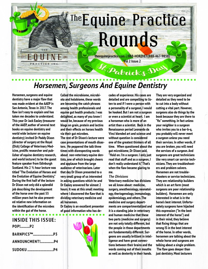 The Equine Practice Inc, The Equine Practice Rounds Vol 2 Issue 1 page 1
