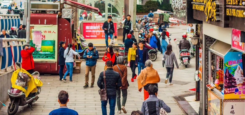 ทางเดินในย่านช็อปปิ้งของเมืองฉางชา