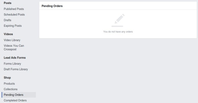 Facebook Page Setting - Payments: Pending Order