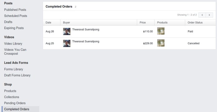 Facebook Page Setting - Payments: Completed Orders