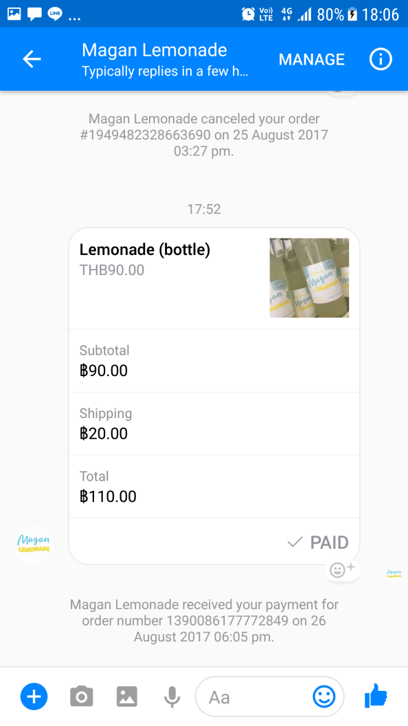 Facebook Messenger: Paid Order