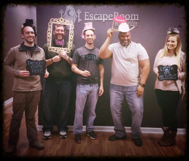 "Another successful escape for team Disturbed Friends. At the EscapeRoom Woodbridge ""Adventures in Wonderland"" escape room. Photo courtesy of EscapeRoom Woodbridge's Facebook page."