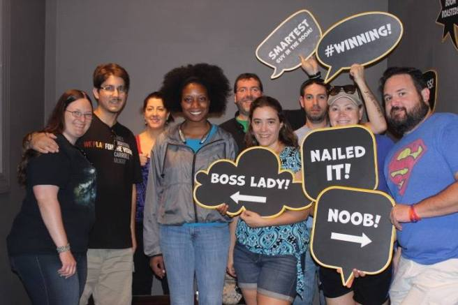 Team Disturbed Friends (Brittany, Corey, Gina, Shanell, Mike, Dalia, Jason, Chris and Kevin) found the idol and escaped the tomb! Photo courtesy of Escape Quest's Facebook page.
