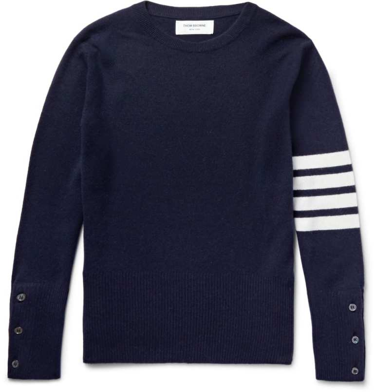 STRIPED CASHMERE SWEATER BY THOM BROWNE, $1500 VIA MR. PORTER