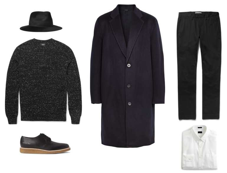 NOIR RABBIT FELT FEDORA: LAROSE, $345 | COAT: BY, $124 | COTTON BLEND TWILL TROUSERS: ACNE, $240 | LUDLOW COTTON OXFORD SHIRT: J.CREW, $88 | SLUB COTTON & CASHMERE SWEATER: A.P.C., $120 | PERFORATED DERBY SHOES: COMMON PROJECTS, $540