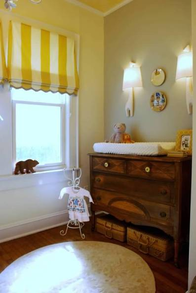 Yellow and Grey Nursery with Rothman bird clouds wallpaper