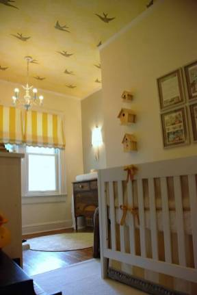 Yellow and Grey Nursery with Rothman bird clouds wallpaper on ceiling The Estate of Things