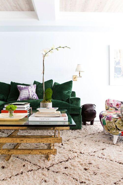 moroccan rug green velvet sofa