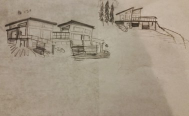 I took to drawing my own plans for the river lot, I'd like a little set of sheds for a vacation home