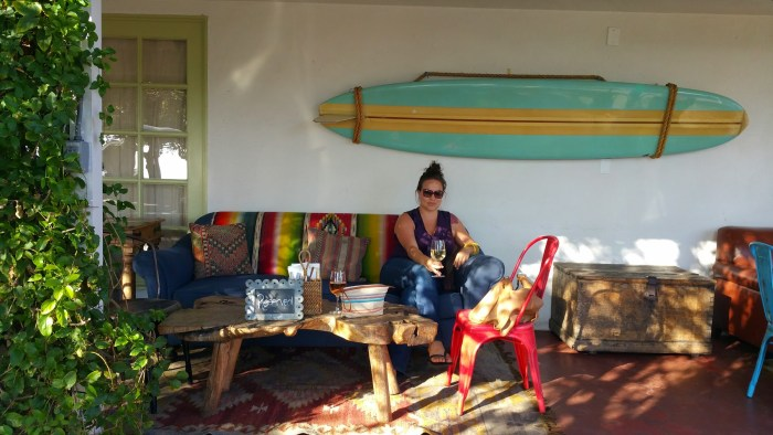Kate on an Indigo Sofa with Mexican Serape The Estate of Things