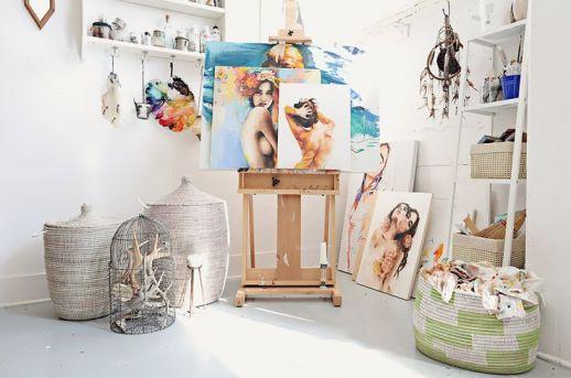 art studio with african baskets