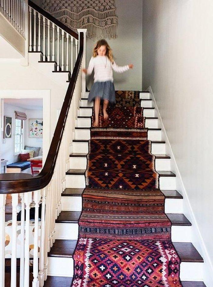 kilim on stairs