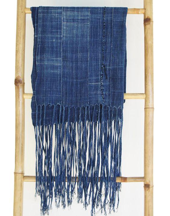 vintage african indigo mudcloth extra long fringe denim